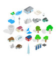 city landscape icons set isometric style vector image vector image