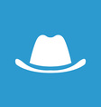 classic hat icon white on the blue background vector image