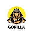 cute gorilla cartoon logo icon vector image vector image