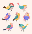 decorated birds trendy stylized colored flying vector image vector image
