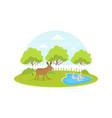 farm animal and birds at summer rural landscape vector image