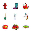 Fire extinguisher icons set cartoon style