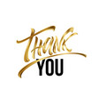 golden thank you hand lettering greeting card vector image