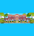 group of diverse pupils in front of school vector image