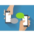 Hand holding black smartphone with blank speech vector image vector image