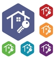 House key icon hexagon set vector image vector image