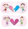 Kids with heart puzzle vector image vector image
