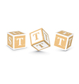 letter T wooden alphabet blocks vector image vector image