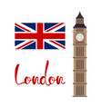 london concept big ben tower with flag and vector image vector image