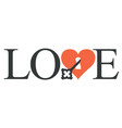 love lettering with a key in heart vector image vector image