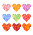 low poly hearts set isolated on white background vector image vector image
