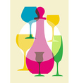 multicolored wine glasses vector image