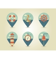 pin map icons marine vector image vector image