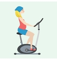 Pregnant girl on a stationary bike vector image vector image