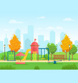 public city park with vector image