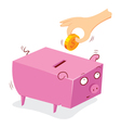 putting money in to a pig bank vector image vector image