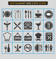 restaurant and cafe icons set on grey background vector image vector image