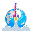 rocket launch over planet earth into undiscovered vector image vector image