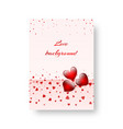 romantic cover with red hearts vector image vector image