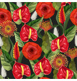 seamless pattern with anthuriums and tropical vector image vector image