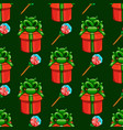 seamless pattern with gift box and candy vector image vector image