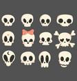 set cartoon skulls a collection cute skulls vector image vector image