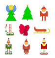 set christmas holiday objects of elf santa angel vector image