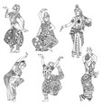 set indian dancers vector image