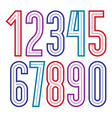 set of bold tall numbers made with white lines vector image