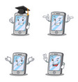 set of iphone character with graduation wink vector image vector image
