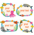 set of isolated frames with marine animals vector image