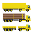 set of yellow trucks vector image vector image