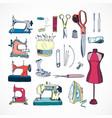 sewing tools kit color hand drawn vector image