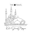 single continuous line drawing kul sharif mosque vector image