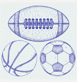 sports balls hand drawn sketch vector image vector image