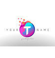 t dots letter logo with bubbles a letter design vector image vector image