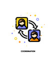 team coordination icon for participation in group vector image vector image