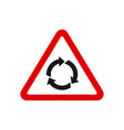 triangle roundabout traffic sign vector image vector image