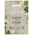 vintage wedding invitation card floral background vector image vector image