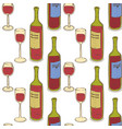 wine glasses and wine bottles seamless pattern vector image vector image