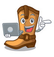 with laptop cowboy boots in the shape cartoon vector image vector image