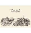 Zurich skyline drawn sketch vector image