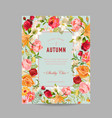 autumn photo frame with orchid and lily flowers vector image