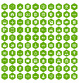 100 private property icons hexagon green vector image vector image