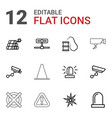12 caution icons vector image vector image