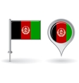 Afghanistan pin icon and map pointer flag vector image