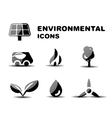 Black glossy environmental icon set vector image vector image