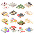 board games isometric icons set vector image vector image