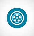 car wheel icon bold blue circle border vector image