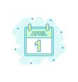 cartoon colored april 1 fool day calendar icon in vector image vector image